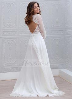 A-Line/Princess V-neck Sweep Train Chiffon Wedding Dress With Lace (0025088769) - Vbridal