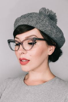 Our collaboration with blogger, Keiko Lynn. Clear grey cateye glasses, named after herself; KEIKO