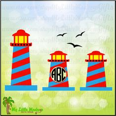 Lighthouse and Monogram Base Designs Digital Clipart Instant Download SVG EPS DXF Png & Full Color 300 dpi Jpeg Files - pinned by pin4etsy.com