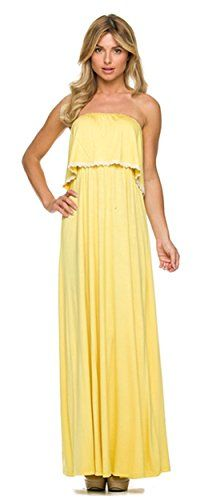 Women's Strapless Ruffle Tube Top Maxi Jersey Dress (Lemon, L) Nymphe http://www.amazon.com/dp/B00Z73GTNM/ref=cm_sw_r_pi_dp_XktRvb1NBYMC4
