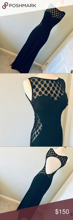 d4cfd113ebdf La Femme Black Polka Dot Gown This jersey gown features a high neckline  with illusion polka