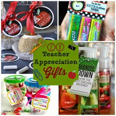"""20 Inexpensive & Creative Teacher Appreciation Gifts. It's time to start thinking about Teacher Appreciation Gifts!  Can you believe it?  This school year has flown by!  Teacher Appreciation Day is coming right up, so don't forget to say """"Thank you""""!"""