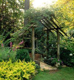 13 Rustic Arbor Ideas to Add Simple Charm to Your Garden Rustic Arbor, Wooden Arbor, Sorrento, Beautiful Home Gardens, Backyard Pergola, Pergola Shade, Outdoor Pergola, Outdoor Spaces, Gazebo