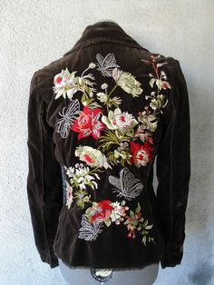 JOHNNY WAS Brown Velvet Butterfly Floral Embroidered Jacket Blazer S #JohnnyWas #BasicJacket