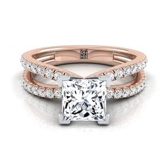 Princess Cut Diamond Engagement Ring With Pave Split Shank In 14k Rose Gold (1/3 Ct.tw.) #princesscutengagementring #princesscutring