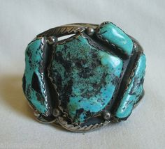 BIG Vintage NAVAJO Blue Diamond TURQUOISE & Sterling Silver CUFF BRACELET signed