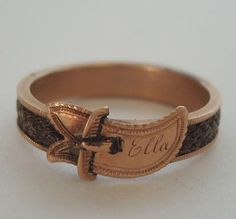~ Ella - Mourning Ring With Woven Hair ~
