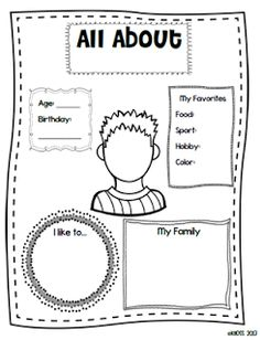 math worksheet : 1000 images about kindergarten myself unit on pinterest  all  : All About Me Worksheet For Kindergarten