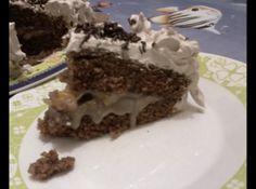 Receita de Bolo brigadeiro, pessego e chantily - BOLO: corte o bolo ao meio e molhe com leite, ponha o recheio. separe 3 metades de pessego, e corte o restante em cubos, e coloque em cima do...