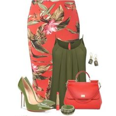 I love this outfit, minus the pointed toe heels though. The colors are wonderful! Başlıksız #343 Business Wear, Orange Skirt Outfit, Green Blouse Outfit, Classy Outfits, Cool Outfits, Casual Outfits, Fashion Outfits, Womens Fashion, Skirt Outfits