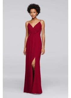 Long Bridesmaid Dress with Beaded Straps F19281