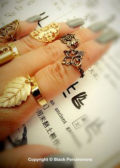 NEW  Aphrodite Mid Finger Ring  Antique Gold Plated by grigio, $13.00
