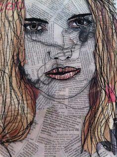 Embroidery Portrait Fiber Art Ideas For 2019 Free Motion Embroidery, Embroidery Art, Machine Embroidery, Fabric Painting, Fabric Art, A Level Textiles, Propaganda Art, A Level Art, Sewing Art