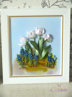 Blue flowers and white tulips #ribbonEmbroidery