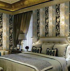 Art wallpaper above luxury bed