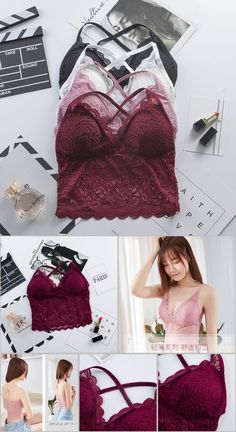 bf1682c65 Women Beauty Padded Back Bra Lace Tube Top Underwear Sexy Lace Bottoming  Camisole