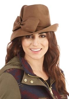 Where Are You Bow-ing? Hat. The journey is just as fun as the destination when you travel in this tan hat! #tan #modcloth