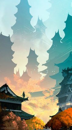 Fantasy Art Landscapes, Fantasy Landscape, Fantasy Artwork, Landscape Art, Japan Landscape, Samurai Artwork, Japon Illustration, Botanical Illustration, Anime Scenery Wallpaper