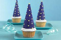 Wizard cupcake: use waffle cones covered in cool whip and dipped in blue kool-aid sugar (don't act like you didn't eat this at school when you were little! Lol.) and add star sprinkles!