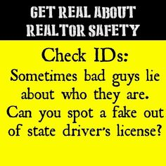 Get Real About Realtor Safety: Check IDs #realtorsafety #realtorsafetymonth #realestatesafety #realtor #realtors #realtorlife #realestatelife #realtorproblems #realestate #realestateagent #realestateagents #realestatesales #openhouse #firehillgroup #fakeid #badguys #dontbefooled