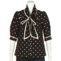 9.40 Sweet Bow Collar Polka Dot Print Puff Sleeve Shirt For Women