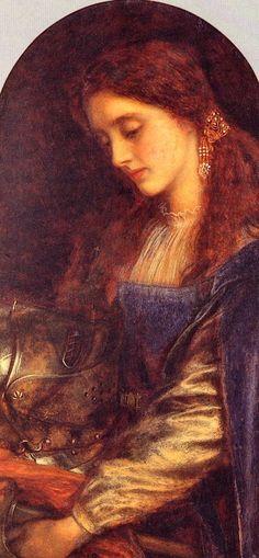 Arthur Hughes - Elaine with the Armor of Lancelot