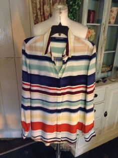 cotton - machine washable - very nice quality - blouse is a light blue and white narrow stripe. Fashion Clothes, Tommy Hilfiger, Size 12, Clothes For Women, Blouse, Long Sleeve, Link, Cotton, Shirts