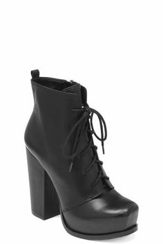 Ithaka Lace-Up Stacked-Heel Bootie | BCBGeneration