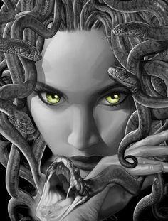 =] Artwork © Greg Horn [link] Photomanip © Me :] Medusa Medusa Drawing, Medusa Art, Mythological Creatures, Fantasy Creatures, Mythical Creatures, Medusa Gorgon, Dark Fantasy, Fantasy Art, Greek Monsters