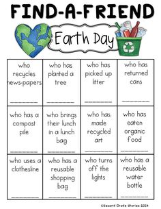 FREE!  A fun way to find out more about classmates for Earth Day.