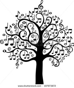 Black Tree From Musical Notes Isolated On White Background. Vector ...