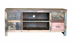 4 Drawer Plasma Stand Reclaimed Solid Wood Rustic Chic Design Med Handmade