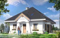 Projekt Figiel to dom jednorodzinny dla cztero-pięcioosobowej rodziny. Budynek parterowy z poddaszem użytkowym zaprojektowany została planie prostokąta. Dom Figiel przekryty jest czterospadowym dachem, z dodatkowymi lukarnami od strony elewacji frontowej i ogrodowej. Projekt architektonicznie nawiązuje stylistyką do przedwojennych willi.