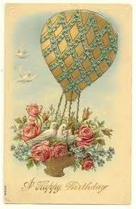 vintage postcard with hot air balloon - Bing Images