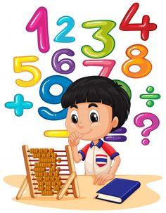 Boy doing math with abacus Free Vector Math Cartoons, Math Wallpaper, School Frame, School Murals, Kids Background, School Displays, School Clipart, School Decorations, Teaching Math