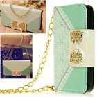 Cute Chain Bowkont PU Leather Wallet Holder Handbag Flip Case For iPhone 4 4G 4S
