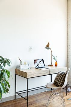 jessica comingore studio | desk space, featuring west elm industrial storage desk and industrial task lamp in brass.