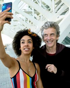 Peter Capaldi and Pearl Mackie take a selfie on the set of Doctor Who…
