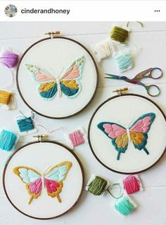 Wonderful Ribbon Embroidery Flowers by Hand Ideas. Enchanting Ribbon Embroidery Flowers by Hand Ideas. Butterfly Embroidery, Hand Embroidery Stitches, Silk Ribbon Embroidery, Modern Embroidery, Crewel Embroidery, Embroidery Hoop Art, Hand Embroidery Designs, Cross Stitch Embroidery, Embroidery Ideas