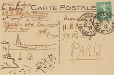 A postcard from Picasso to Henri-Pierre Roché Pablo Picasso Drawings, Going Postal, Decorated Envelopes, Handwritten Letters, Vintage Labels, Vintage Postcards, Letter Art, Mail Art, Old Paper