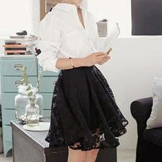 Buy 'Dowisi – Set: Bow-Back Shirt   Floral Print Sheer Skirt' with Free International Shipping at YesStyle.com. Browse and shop for thousands of Asian fashion items from China and more!