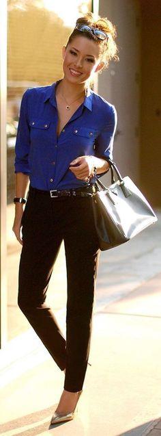 #spring #business #outfitideas | Cobalt Blue Shirt + Black Pants