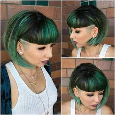 This Emerald Green Undercut Bob with Blunt Baby Bangs is a great haircut for someone seeking a modern versatile style. This short bob can be worn pol Shaved Bob, Shaved Sides, Bob With Shaved Side, Undercut Hairstyles, Hairstyles With Bangs, Undercut Bob, Shaved Hairstyles, Side Undercut, Undercut Curly Hair