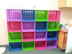Kids Room With Plastic Milk Crate Storage : Using Plastic Milk Crates As Storage Milk Crate Shelves, Milk Crate Storage, Toy Shelves, Closet Shelves, Toddler Closet Organization, Small Closet Storage, Kid Toy Storage, Classroom Storage Ideas, Milk Crate Furniture
