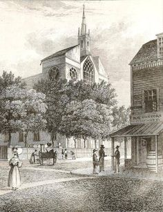 Vintage 1809, Old St. Patrick's Cathedral at Prince and Mott Streets, NYC, www.RevWill.com