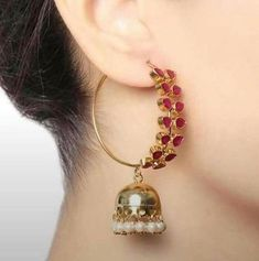 Very beautiful Bali and jhumki style hoop earrings.semi precious stones four color feroza, white, ruby, multi color,and also customized with any other color. Indian Jewelry Earrings, Jewelry Design Earrings, Gold Earrings Designs, Ear Jewelry, Wedding Jewelry, Jewelery, Gold Jewelry, Hoop Earrings, Jewellery Designs