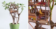 Miniature Tree Houses For Houseplants Are Just Perfect For Fairies | Bored Panda