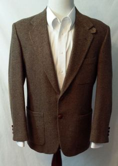 STAFFORD Mens 40 R Brown Wool Tweed Suede Elbows #Hipster Sport Coat Blazer 2 Btn #Stafford #TwoButton