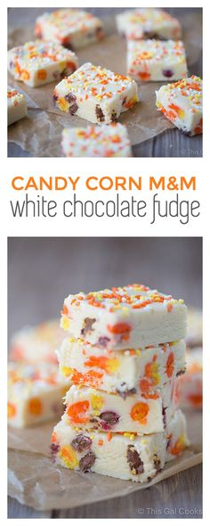 Candy Corn M&M White Chocolate Fudge | This Gal Cooks #dessert