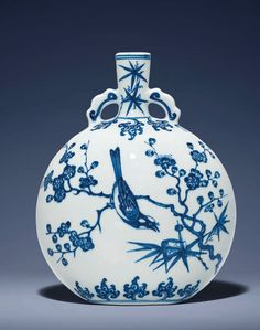 An exceptional and extremely rare blue and white Ming-style moonflask, Yongzheng period (1723-1735). Estimate Upon...
